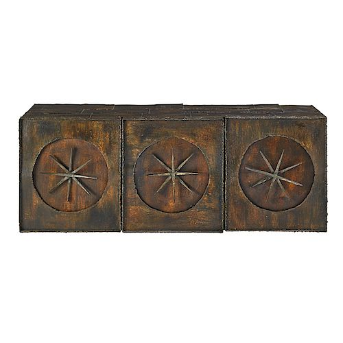 PAUL EVANS Early wall-mounting sculptural cabinet