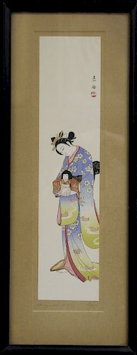 "Ito Sozan ""Lady with Doll"" Print"