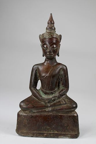 Antique Bronze Theravada Seated Buddha