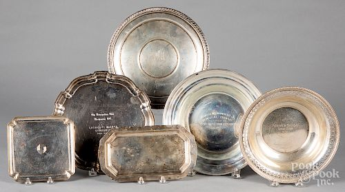 Sterling silver bowls and trays