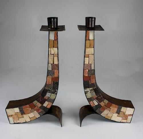 Pair of Copper & Stone Eilon Mosaics Candlesticks