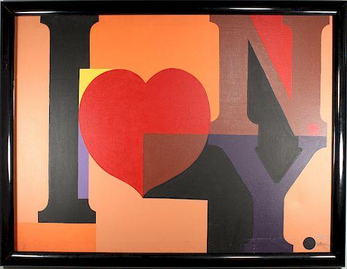 "Vintage ""I Love NY"" Painting, Signed"
