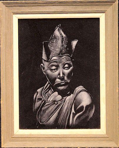 20th C. Chinese School, Portrait on Man on Velvet