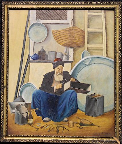 Signed, 20th C. Middle Eastern Man in Workshop
