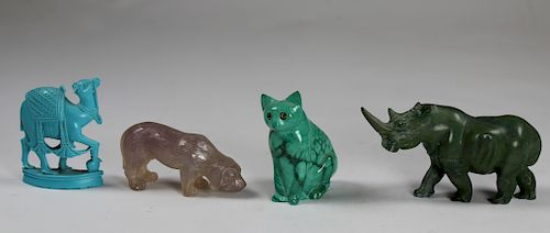 (4) Carved Stone Animal Figurines