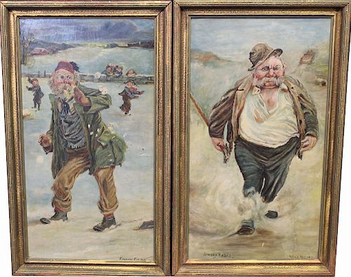 "Pair of Whimsical Men, ""Frosty Fields"""