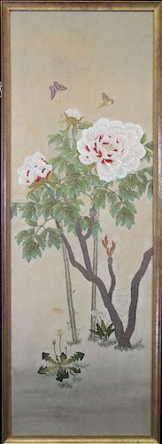 Large Antique Japanese Silk Embroidery