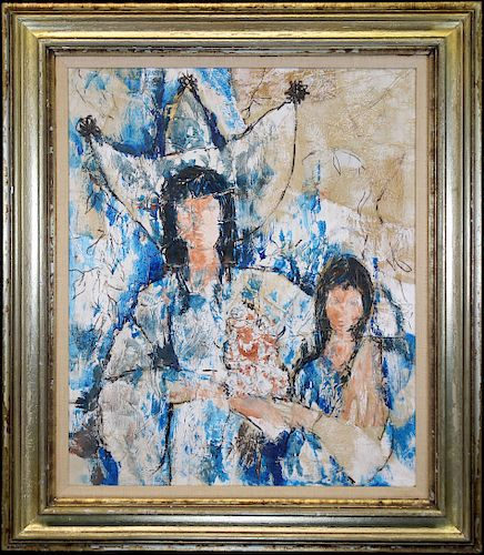 20th C. Abstract Painting of Mother and Child