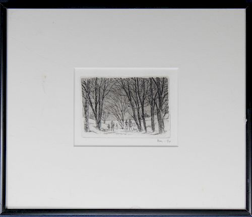 Signed Etching of Figures in Wooded Landscape