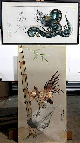 Japanese Silk Embroidery Rooster Dragon Painting By Clars Auction