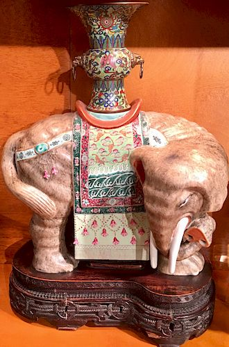 Important Finely Enameled Antique Chinese Caparisoned Elephant
