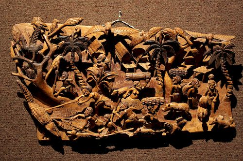 Unusual Carved Figural Relief