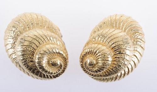 David Webb Gold Shell Omega Clip Earrings