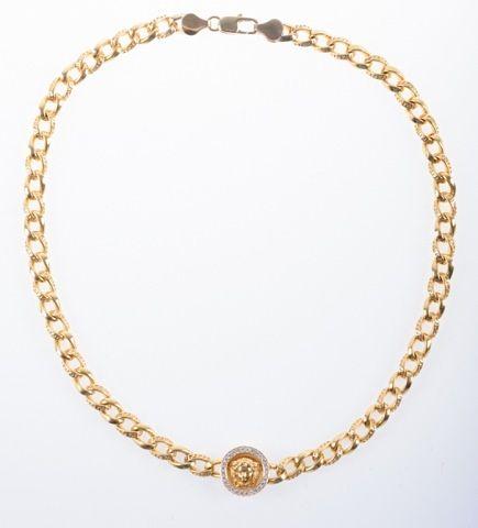 Versace Gold and Diamond Medusa Necklace