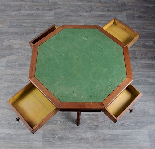 English Oak Octagonal Game Table