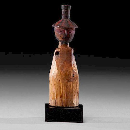 Chugach Eskimo Polychrome Carved Wooden Figure