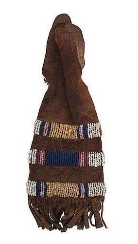 Northern Plains Beaded Hide Paint Pouch
