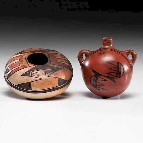 Nampeyo of Hano (Hopi, 1860-1942) Attributed and Annie Healing Nampeyo (Hopi, 1884-1968) Polychrome Pottery Seed Jar and Canteen
