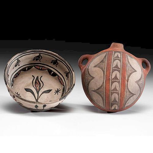 San Ildefonso Polychrome Bowl and Zia Pottery Canteen