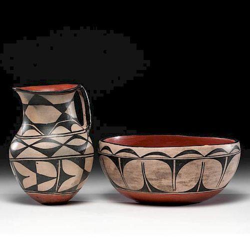 Kewa [Santo Domingo] Pottery Wash Bowl and Pitcher
