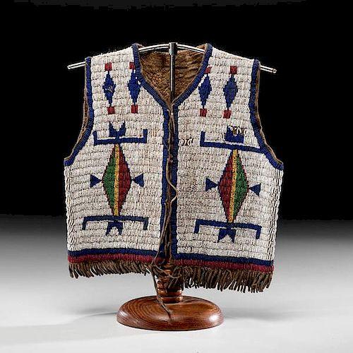 Sioux Child's Beaded Buffalo Hide Vest