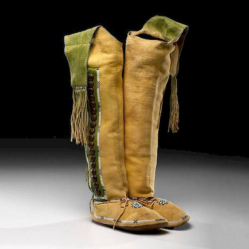 Kiowa Beaded Hide Hightop Moccasins From the US Children's Museum on the 19th Century