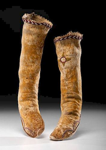 Apache Beaded Hide Hightop Moccasins From the US Children's Museum on the 19th Century