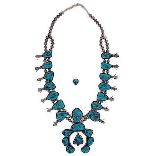 Navajo Silver and Turquoise Squash Blossom Necklace and Ring from Asa Glascock Trading Post, Gallup, NM