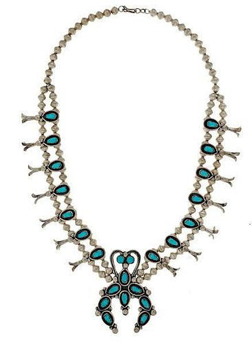 Leonard (1923-1992) and Lula (1930-2004) Weebothee Zuni Squash Blossom Necklace Suite From Asa Glascock Trading Post, Gallup, New Mexico