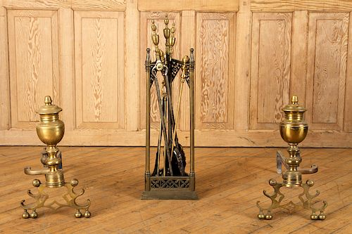 19TH CENT. BRASS FIREPLACE TOOLS & PAIR ANDIRONS