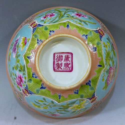 IMPERIAL CHINESE ANTIQUE FAMILLE ROSE BOWL - KANGXI MARK