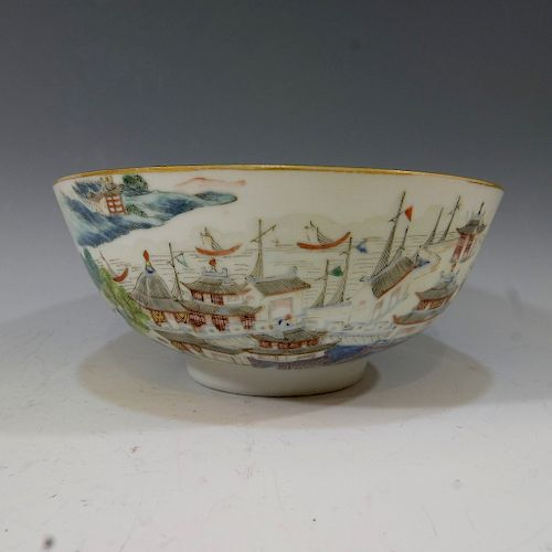 CHINESE ANTIQUE FAMILLE ROSE SCENERY BOWL - DAOGUANG PERIOD