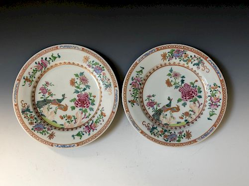 TWO ANTIQUE FAMILL ROSE PORCELAIN PLATE ,18C