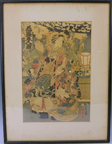KUNICHIKA TOYOHARA (Japanese, 1835-1900). ANTIQUE WOODBLOCK PRINT
