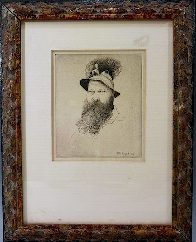 "L.N. VOGEL, ETCHING ON PAPER ""BUST OF A MAN"" - 1936"