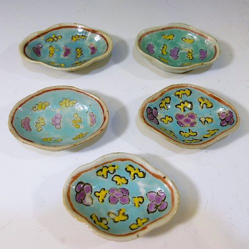 5 CHINESE ANTIQUE FAMILLE ROSE PORCELAIN DISH - QING DYNASTY