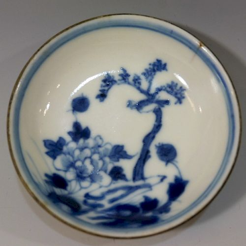 CHINESE ANTIQUE BLUE WHITE PORCELAIN DISH - MING DYNASTY