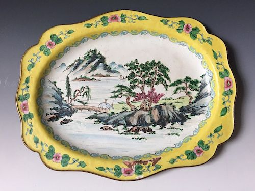 A CHINESE ANTIQUE ENAMELED CHARGER