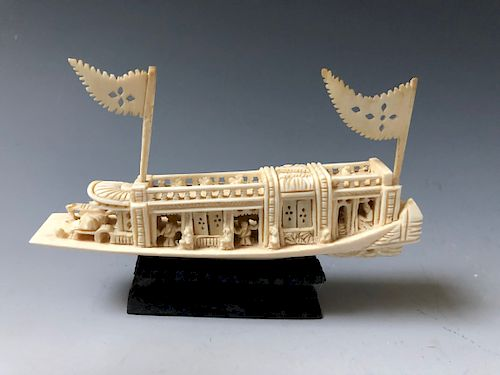 A CHINESE ANTIQUE CARVING BOAT