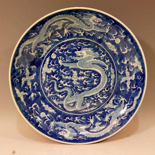CHINESE BLUE WHITE CHARGER - KANGXI MARK