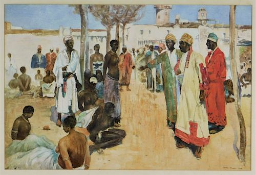 J Monks Orientalist Arab Slave Market Wc Painting By