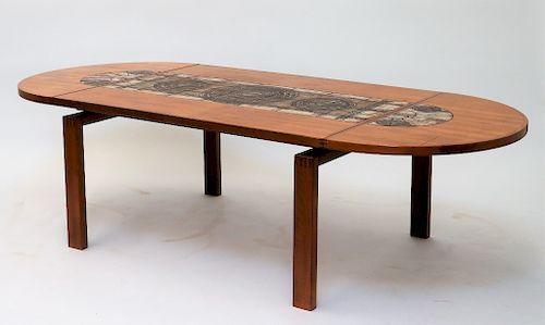 C 1970 Danish Teak Wood Ox Art Tile Dining Table By Bruneau Co