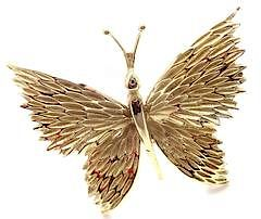 Tiffany & Co 18k Yellow Gold Butterfly Pin Brooch
