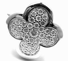 VAN CLEEF & ARPELS 18k White Gold Diamond Alhambra Ring