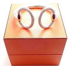Hermes Nausicaa 18K White Gold Diamond Horsebit Cuff Bangle Bracelet