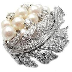Art Deco Platinum 7.5ctw Diamond Pearl Leaf Brooch Pin