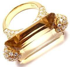 Estate 18k Yellow Gold 1.85ct Diamond Large 24ct Citrine Ring