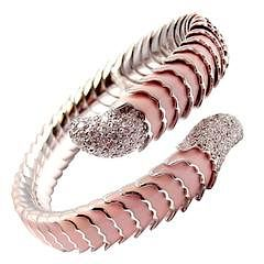ROBERTO COIN 18k White Gold Enamel Ruby Diamond Cobra Bangle Bracelet