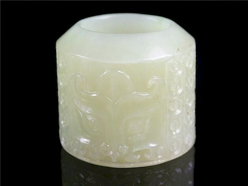 """OLD Chinese Celadon White Jade Thumb Ring, 1 1/4"""" H x 7/8"""" diameter."""