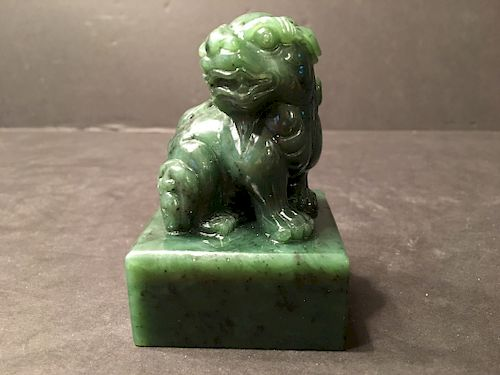 OLD Chinese Large Spinach Green Jade Foo Dog Stamp
